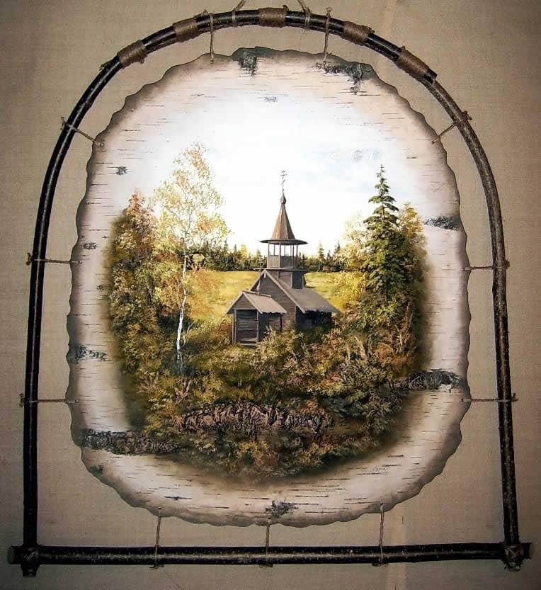 Варваринская часовня, д.Коккойла, Карелия-Живопись на бересте
