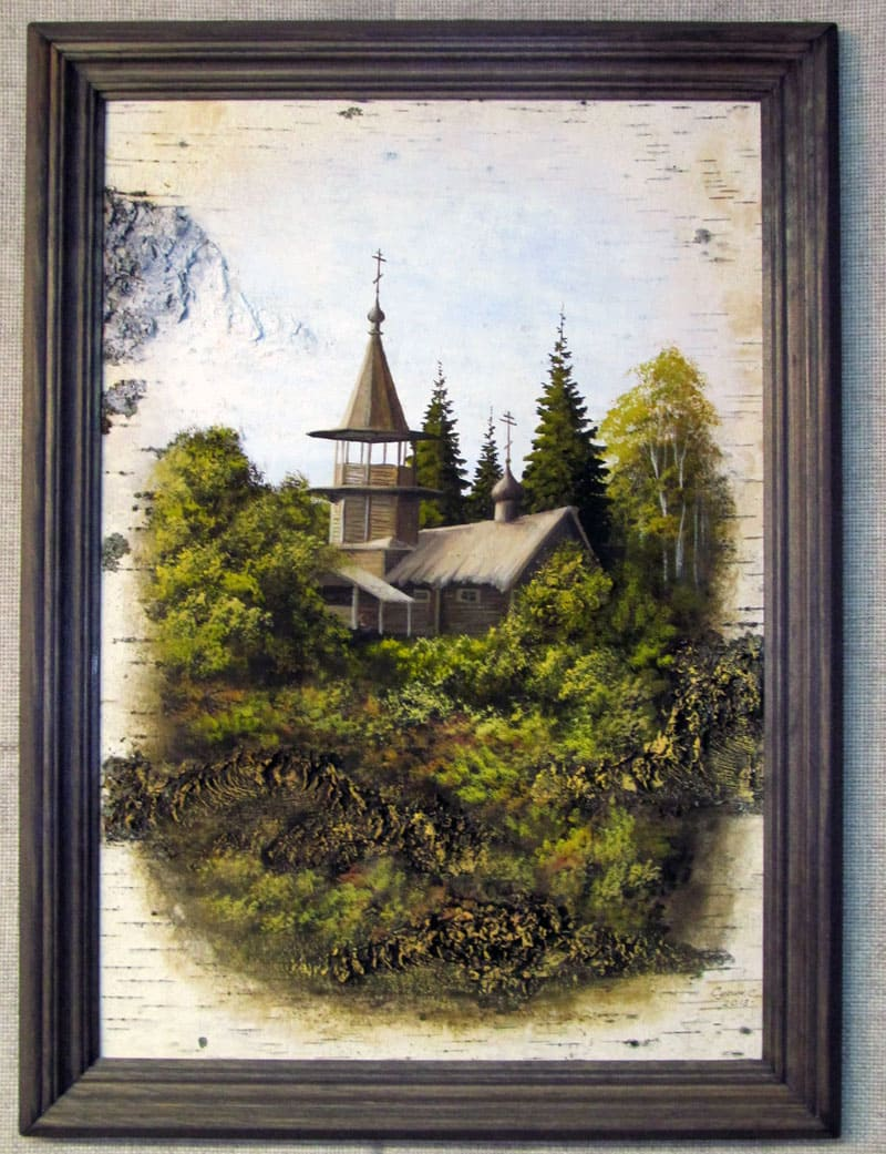 Знаменская часовня д. Корба о.Кижи-Живопись на бересте