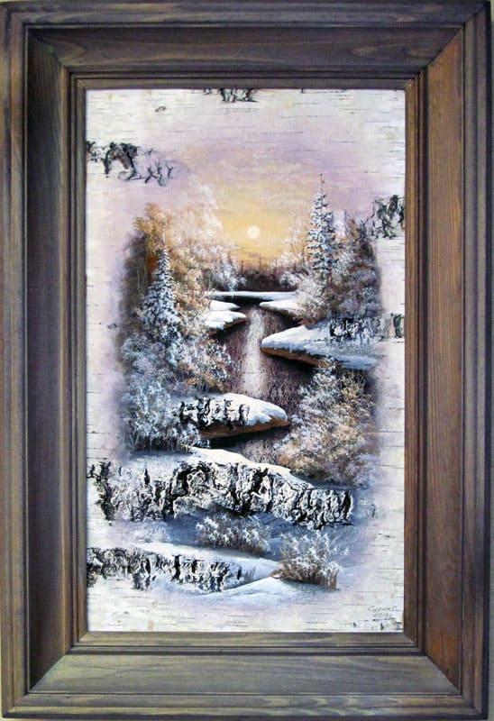 Отражение-Живопись на бересте
