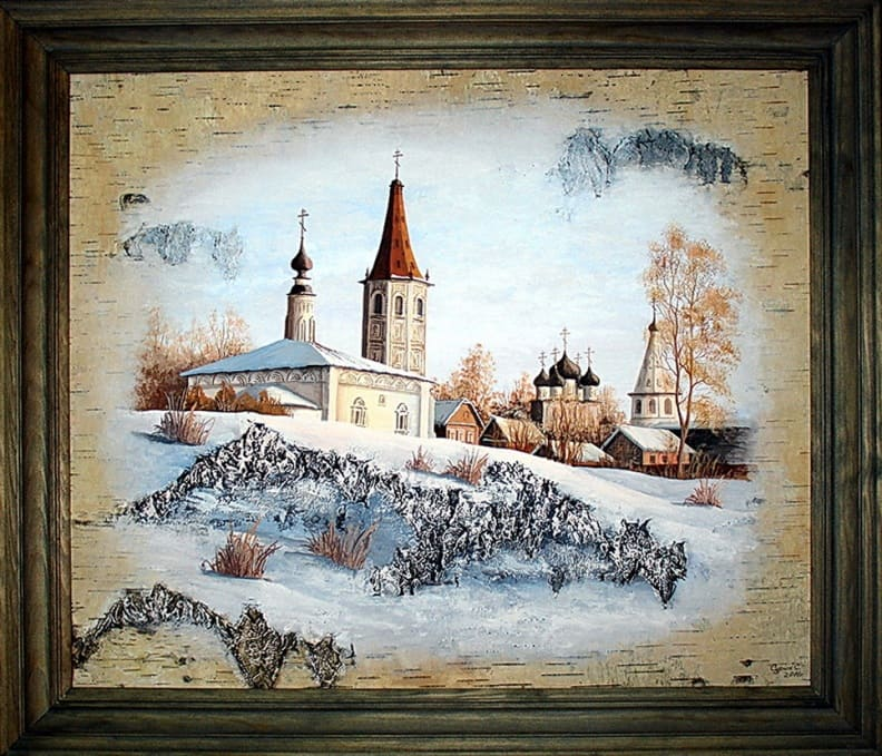 Суздаль. Никольская церковь,Христорождественский собор-Живопись на бересте
