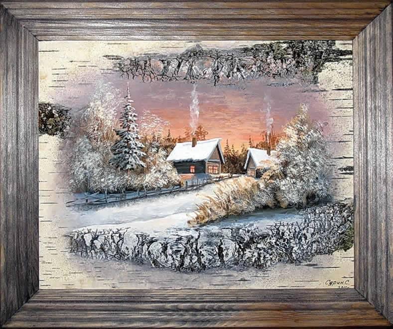 Закат зимы-Живопись на бересте