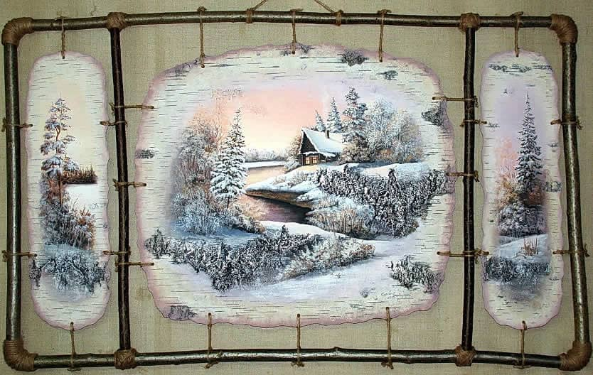 Триптих-Приют-Живопись на бересте