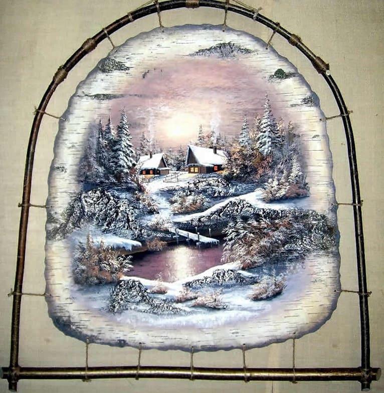 Красота зимней ночи-Живопись на бересте