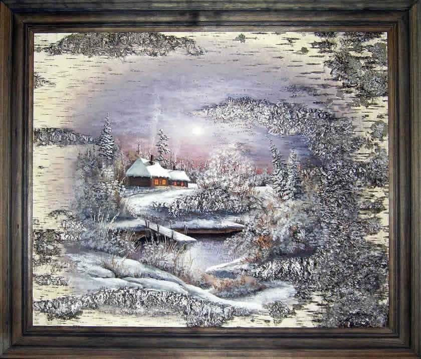 Зимняя гармония-Живопись на бересте