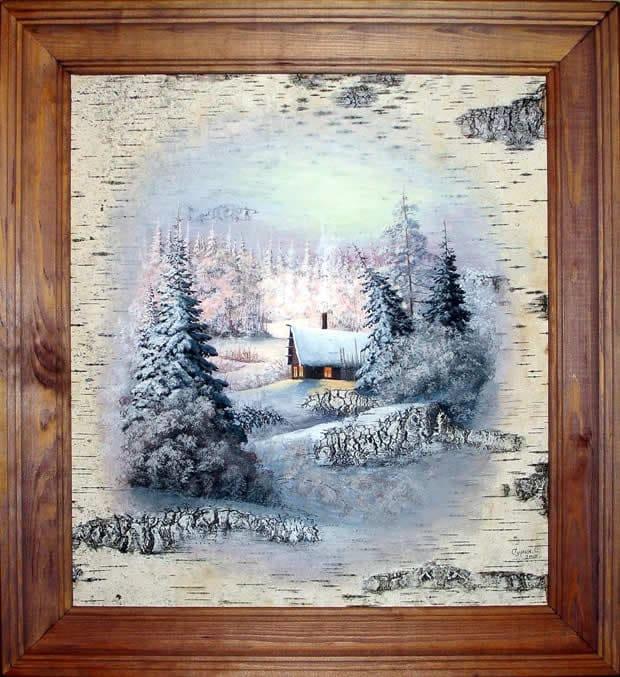 Дом лесника-Живопись на бересте