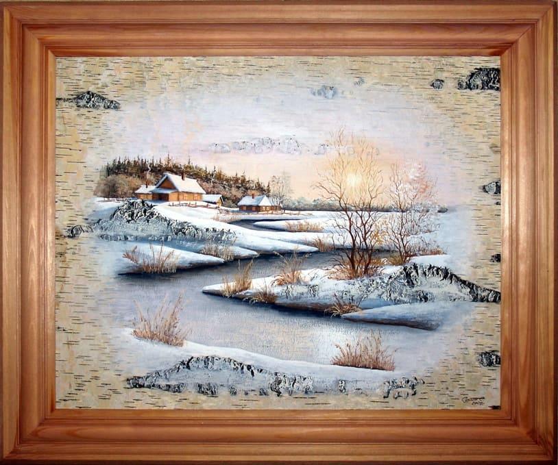 Зимний вечер-Живопись на бересте