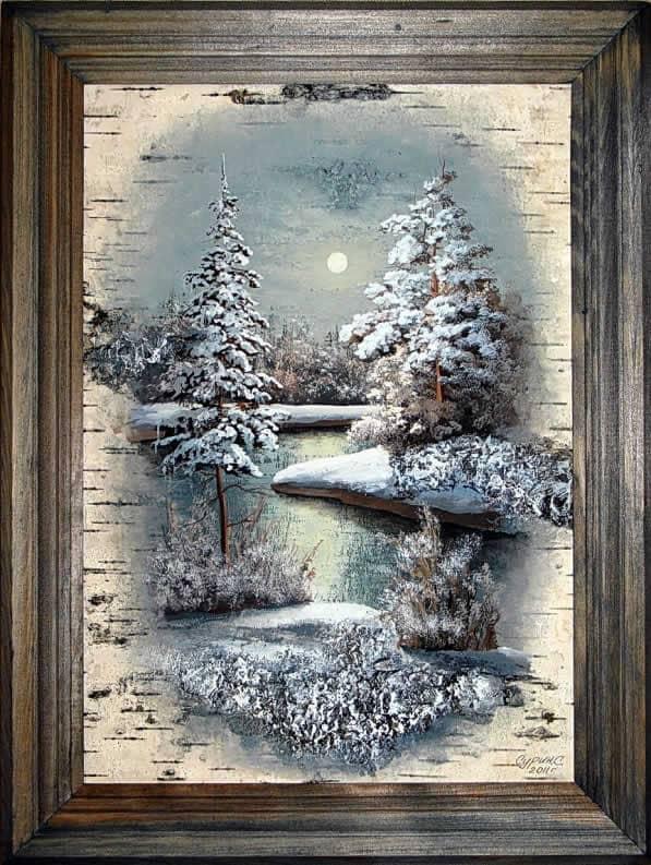 Лунная ночь-Живопись на бересте