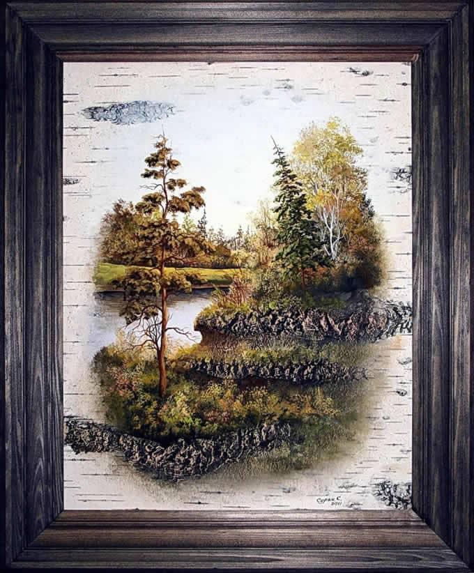 Два берега-Живопись на бересте