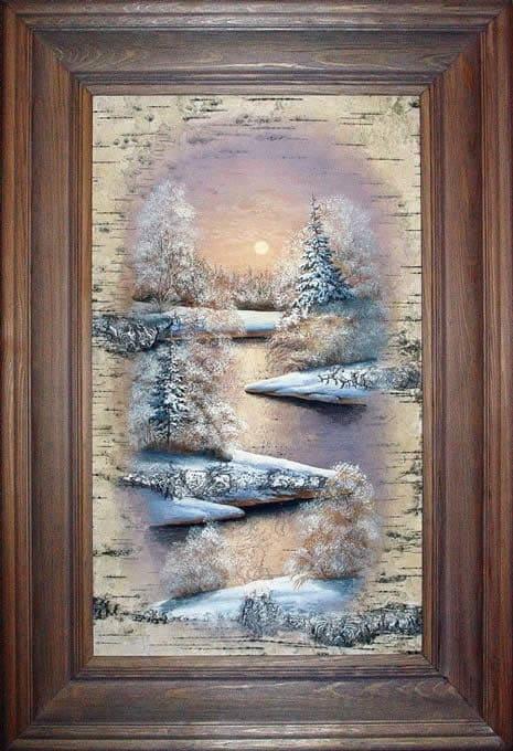Первый мороз-Живопись на бересте