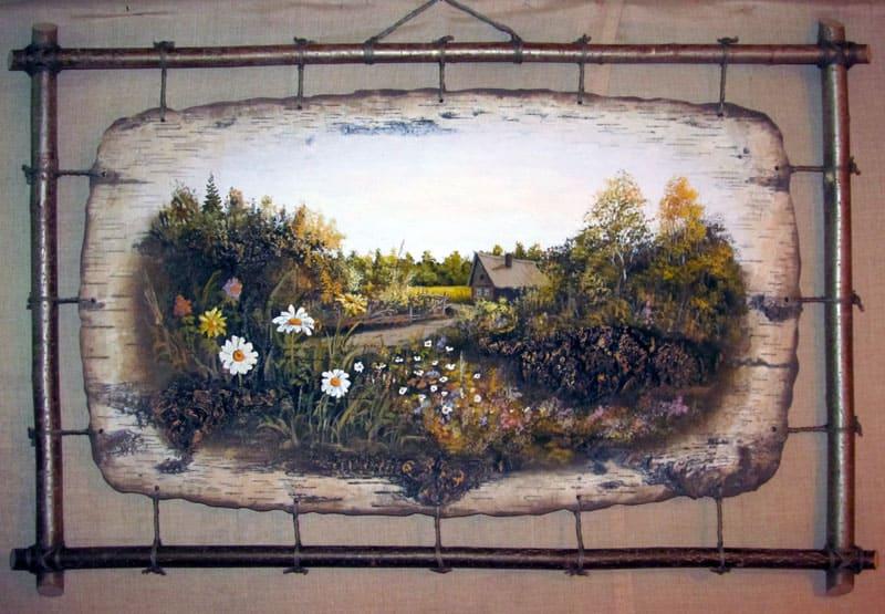 Полевые цветы-Живопись на бересте