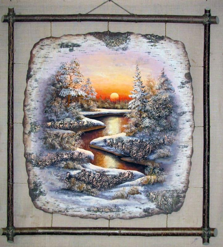 Золотое отражение-Живопись на бересте