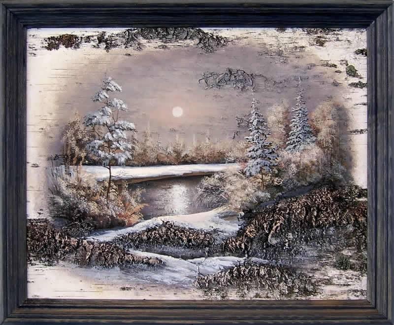 Отражение(ночь)-Живопись на бересте
