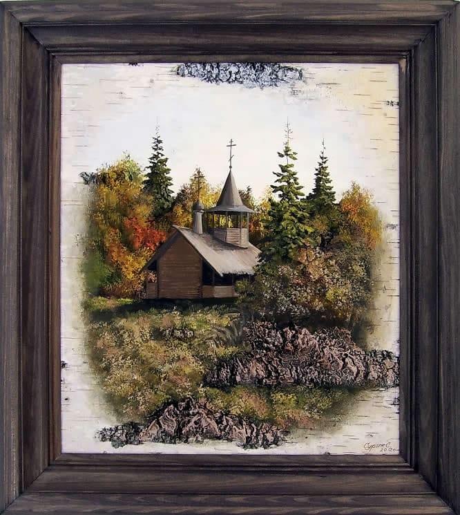 Карельская часовня-Живопись на бересте