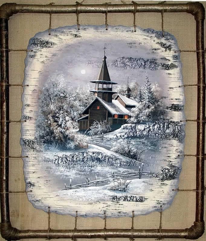 Часовня Петра и Павла,д.Волокостров, Кижи-Живопись на бересте